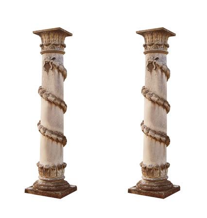 isolated architectural columns on a white background. Foto de archivo