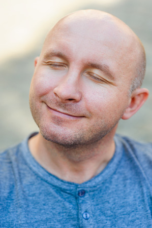 only man: Closeup portrait of a happy man. Stock Photo
