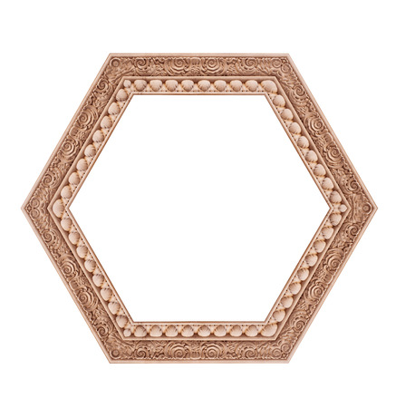 heptagon: Beautiful hexagonal frame isolated on a white background. Stock Photo