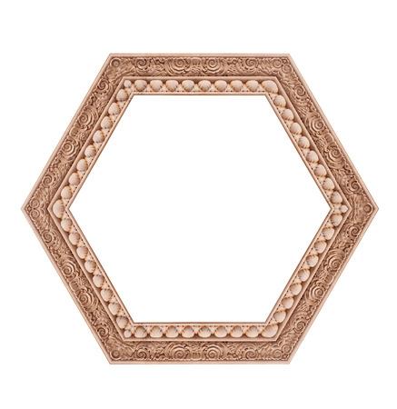 heptagon: Beautiful hexagonal frame isolated on a white background. Stock Photo