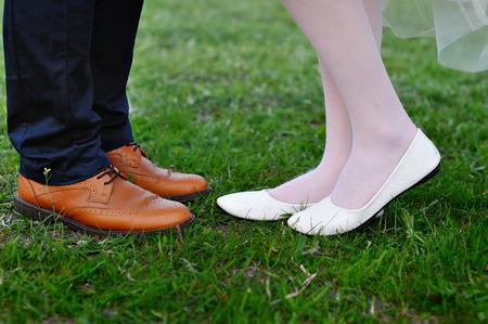 moccasins: Legs bridal groom wearing shoes, brides moccasins