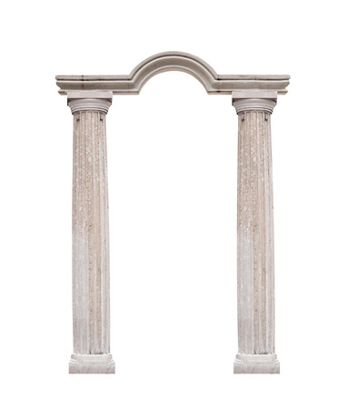 doric: Beautiful columns in classical style isolated on white background. Stock Photo