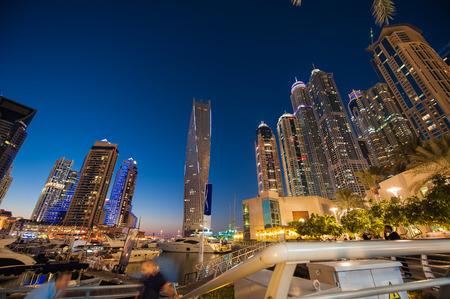 skylines: skylines view of Dubai Marina showing in night