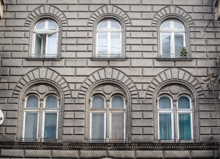residential idyll: beautiful architecture of the old building in Lviv Stock Photo