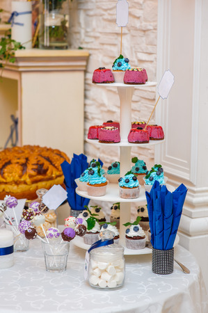 ombre cake: Candy bar with cupcakes Dessert table on wedding dinner.