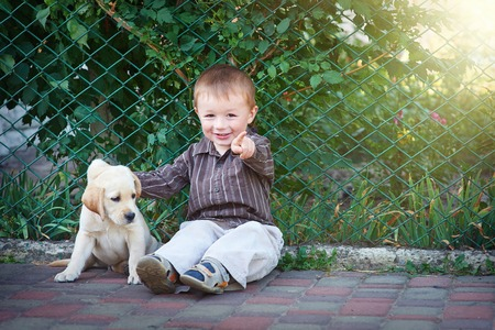 Little boy plays with a white puppy Labrador.