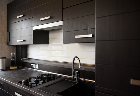 beautiful brown kitchen in a modern style. 스톡 콘텐츠