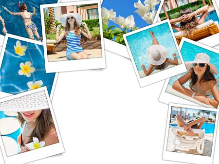 travel collage: collage of photos of the beautiful woman on vacation at sea. Stock Photo