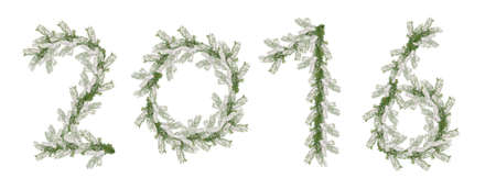 snowcovered: 2016 inscription made from snow-covered fir branches isolated on white background. Stock Photo