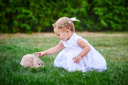 little girl in a white dress plays with a rabbit in the park. Foto de archivo