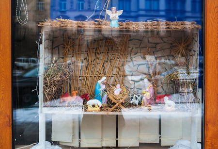 virgin mary mother of god: Christmas decoration Birth of Jesus on a shop window. Stock Photo