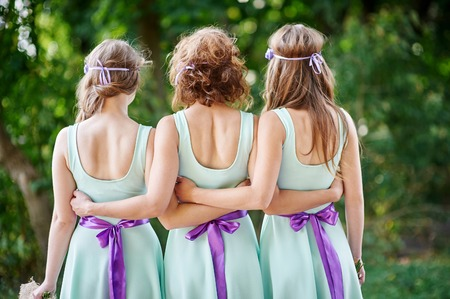 honour: three bridesmaids are back in the park.