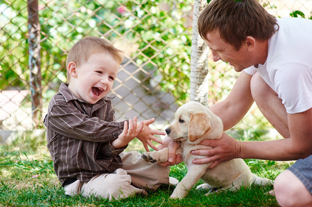 father and son playing with a labrador puppy in the garden. Foto de archivo