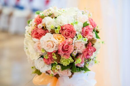 floral decoration: Wedding bouquet with roses Stock Photo
