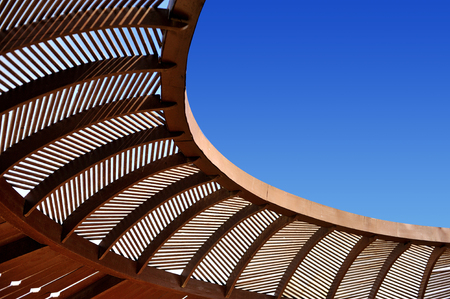wooden  ceiling: Wooden ceiling gazebo and blue sky Stock Photo
