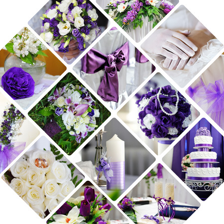 diamond candle: Collage of wedding photos in purple style Stock Photo