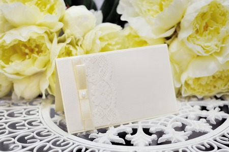 dinner menu: wedding card on a background of yellow flowers
