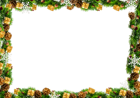 Christmas frame isolated on a white background.