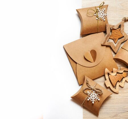 Handmade Wooden Toys And Christmas Boxes For Gifts Of Kraft Paper Stock Photo Picture And Royalty Free Image Image 49877090