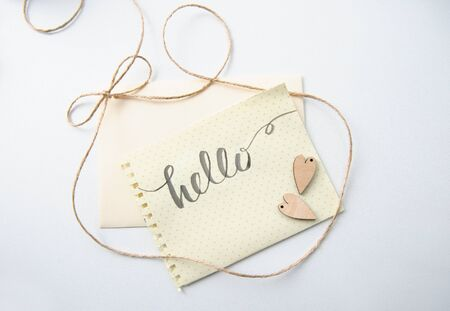 greating card: Two lovers heart patterns and words hello for greating card. Stock Photo