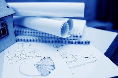 dissemination: Set freehand drawing sketches on the theme of business.