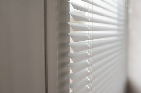blind: close-up modern plastic Shutter Blinds in room Stock Photo