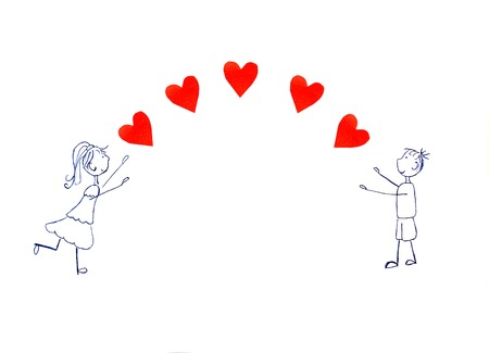 boy long hair: illustration of girl and boy pulling his hands to red hearts.