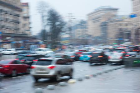 slow lane: blurry focus scene of cars on road