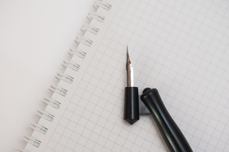 plotting: Vintage penholder . Old and used writing pen with ink metal head. Drawing Pen isolated on white Stock Photo