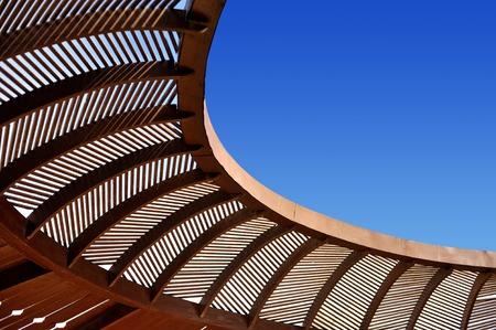gazebo: Wooden ceiling gazebo and blue sky outdoor