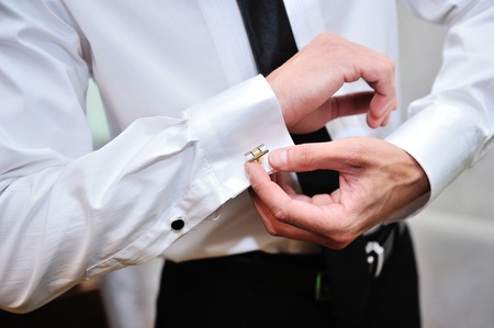 suit  cuff: man wear a shirt and cufflinks for wedding day