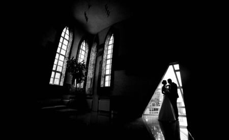 classic interior: Silhouette of a bride and groom in an interior.