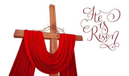 wooden christian cross with a crown of thorns with letters He is risen on white