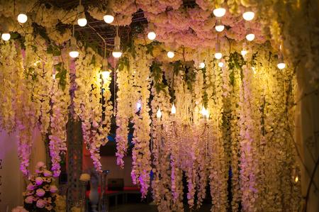 decor: Luxury beautiful decor evening with lights for wedding. Stock Photo