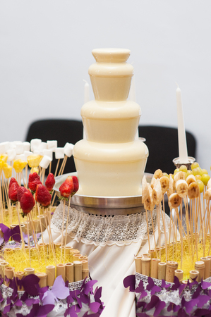 calorie rich food: Chocolate fondue fountain of white chocolate being dipped.