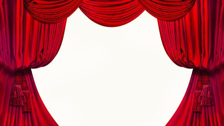 curtain background: Brush on the red curtains isolated on white background.