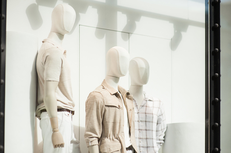 men's clothing: Mens clothing in a retail store in shop window Stock Photo