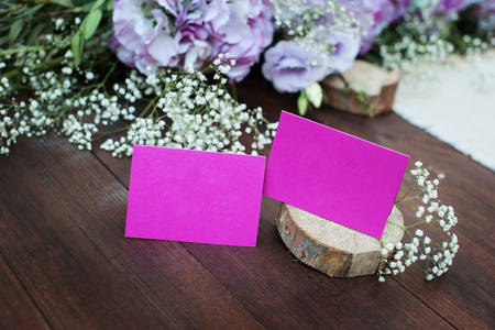 holiday pink plate on a table with place for your text on a color background