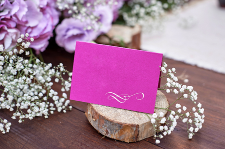 vintage Wedding decoration of flowers on the table and place for text Stock Photo
