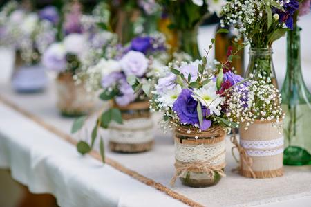 beautiful decor of flowers at the wedding ceremony. Foto de archivo