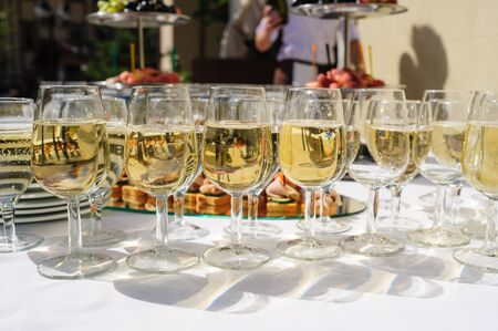 glasses with champagne at the wedding ceremony Stock Photo