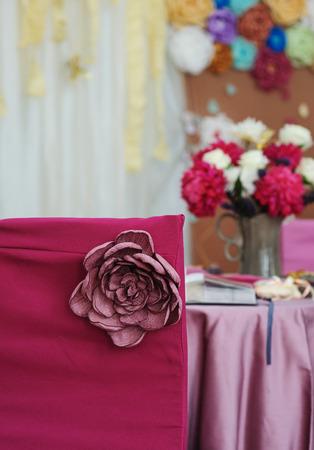 beautiful decor for a wedding celebration in restaurant stock photo 70724646