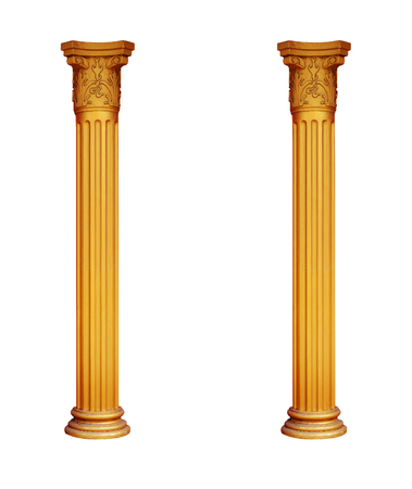 gilded two columns isolated on white background