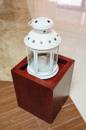 white metal candlestick