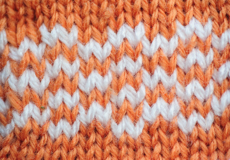 Orange texture knitted fabric Stock Photo