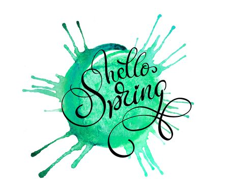 green blob on a white background and text Hello Spring. Calligraphy lettering