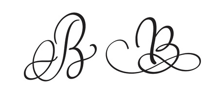 whorls: art calligraphy letter B with flourish of vintage decorative whorls. Vector illustration EPS10