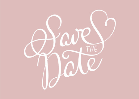 Save the date text on beige background. Calligraphy lettering Vector illustration EPS10