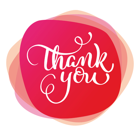 text thank you on red background. Calligraphy lettering Vector illustration EPS10 Vektorové ilustrace
