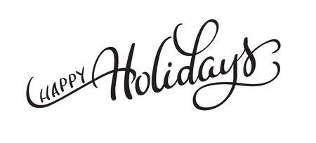 vecteur texte joyeuses fêtes sur fond blanc. Calligraphie lettrage Illustration vectorielle EPS10